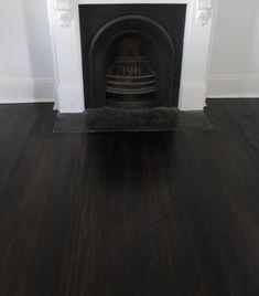 black flooring Stain: Expresso Timber: B - Dark Timber Flooring, Parquet Flooring, Wooden Flooring, Black Hardwood Floors, Wood Parquet, Black Floorboards, Black Wooden Floor, Stain On Pine, Floor Stain