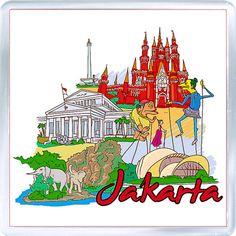 Acrylic Fridge Magnet: Indonesia. Jakarta