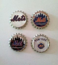 NY Mets Baseball Bottlecap Magnets by WhimsyWoodcrafts on Etsy, $4.50