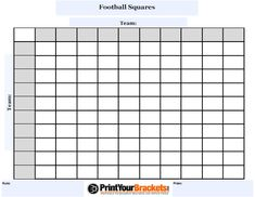 Free Printable Football Squares Grid | Visit Our Store to get your ...