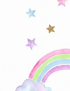Rainbow watercolor print, Girls room decor, Pink purple gold, Rainbow and stars, Gold glitter wall a Glitter Wall Art, Gold Glitter, Glitter Walls, Unicorn Wall Art, Rainbow Wallpaper, Glitter Wallpaper, Star Painting, Unicorn Printables, Kids Room Art