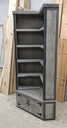 Rustic Industrial Corner Bookcase with Seat, Weathered Grey Barn Board - Diy furniture industrial Industrial Bedroom Furniture, Rustic Furniture, Diy Furniture, Furniture Design, Antique Furniture, Furniture Layout, Furniture Stores, Furniture Makeover, Modern Furniture