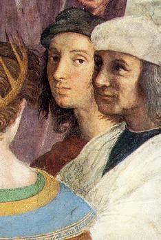 <아테네 학당, 라파엘로>  -작품의 오른쪽 두번째에서 관객을 바라보고 있는사람이 바로 라파엘로이다. 관객과의 교감뿐만 아니라 작품에서 위트를 가미한게 아닐까