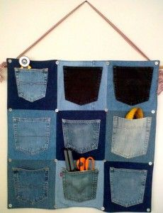 I have a bunch of pockets left over from jeans I used to make a quilt.  Would make a great thing for my boys room, but who knows what they would store in the pockets! ;)