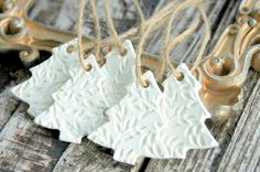 Christmas Tree Ornaments . Set of 5 Handmade Clay by DancingMooney
