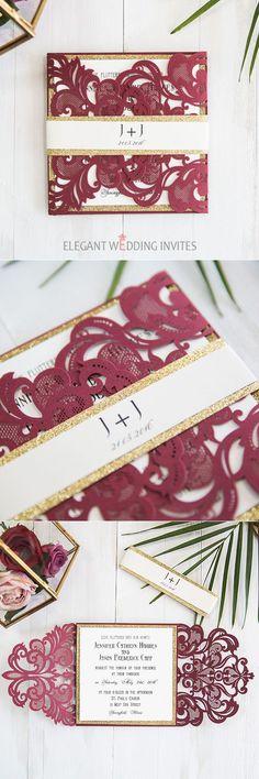 burgundy and gold laser cut wedding invitation suite