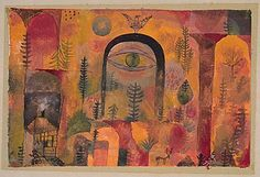 Paul Klee (1879-1940), Mit dem Adler (With the Eagle), 1918 (85). Watercolour on chalk ground on paper on gloss paper on cardboard. 17.3cm H x 25.6cm W. (Kuntsmuseum Bern)