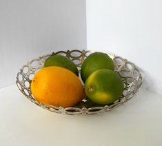 Pierced Filigree Bowl EP A&JZ NS Nickle Silver Unique Vintage, Decorative Bowls, Lime, Fruit, Unique Jewelry, Filigree, Handmade Gifts, Etsy, Food