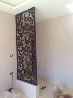 Metal Room Divider, Wooden Room Dividers, Hanging Room Dividers, Room Divider Doors, Living Room Partition Design, Pooja Room Door Design, Room Partition Designs, Home Design Decor, Home Interior Design