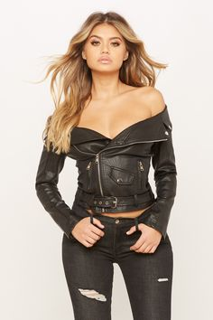 Hipster Outfits, Edgy Outfits, Cute Outfits, Rocker Girl, Rocker Chick, Punk Fashion, Jeans Fashion, Faux Leather Jackets, Ladies Dress Design