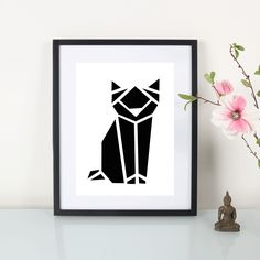 Artprint / Origami Katze / Schwarz By : Eulenschnitt