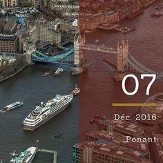 Très peu de navires de croisières permettent d'embarquer en plein centre de Londres. Découvrez les itinéraires de la compagnie Ponant au départ de Tower Bridge sur notre site seagnature.com #CalendrierdelAvent #AdventCalendar #croisière #vacances #voyage #seagnature #bateau