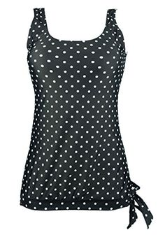 Cocoship Black & White Polka Dot Sporty Inspired Adjustable Tie Swim Top U-Neck Beach Tankinis Swimsuit Modest Swimsuits, Women's One Piece Swimsuits, Cute Swimsuits, Women Swimsuits, Cute Bathing Suits, Bathing Suit Top, Swim Top, Swim Dress, Suits For Women