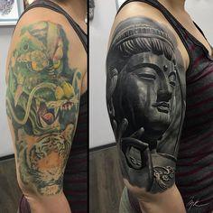 Tattoo Mihail Kogut - tattoo's photo In the style Realistic, Female, Buddhist Tattoo Sleeve Cover Up, Cover Up Tattoos For Men, Black Tattoo Cover Up, Best Sleeve Tattoos, Cover Tattoo, Tribal Cover Up, Buda Tattoo, Tatuaje Cover Up, Black Tattoos
