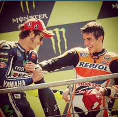 Lovely photo of Valentino Rossi (2nd) and Marc Marquez (1st) congratulating each other at Le mans 2014 The master and the apprentice!