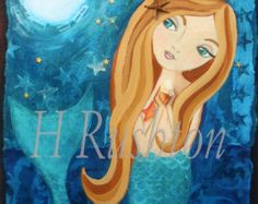 Artist~ HRushton    Title~Moonlight Mermaid Sisters ( brunette /brunette version)    Kids Mermaid Art, Mermaid Sisters Art, whimsical beach folk art, kids mermaid and ocean art, mermaid wall art, sisters, sister art, childrens art, childrens mermaid decor    Size~ This image measures approximately 8 x 10 centered on a sheet of 8.5 x11 paper. Or you may choose a 5x7 print centered on a sheet of 8.5x11 paper. Your print will be signed and titled by me, and hand embellished with a little gl...