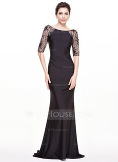 Trumpet/Mermaid Scoop Neck Sweep Train Jersey Evening Dress With Lace Beading Sequins (017065547)