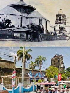 Dito, Noon: Cathedral of the Immaculate Concepcion in Sta. Cruz, Laguna, 1900 x 2019 #kasaysayan -- The parish was built in 1602; but the church was in this location was built in 1608. A convent annex was built in 1850. The church was destroyed by fire on 28 January 1945, during the Liberation. It was reconstructed in 1948. Present Day, Philippines, Cathedral, Street View, Fire, Annex, History, Building, January