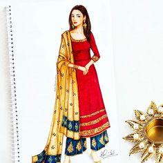 By Priti Bhowmick. Dress Design Drawing, Dress Design Sketches, Fashion Design Sketchbook, Dress Drawing, Fashion Design Drawings, Fashion Sketches, Dress Illustration, Fashion Illustration Dresses, Indian Illustration
