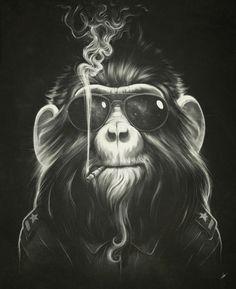 ilustraciones mono fumando