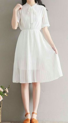 Women loose fit over plus size retro bow ribbon collar white dress classic chic - dress casual - Mode White Outfit Casual, Casual Dress Outfits, Mode Outfits, White Outfits, Trendy Dresses, Simple Dresses, Plus Size Dresses, Plus Size Outfits, Cute Dresses