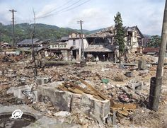 Hiroshima after the bombing. his photo, colorized by Marina Amaral, showcases the overwhelming devastation of Hiroshima immediately following the attack.