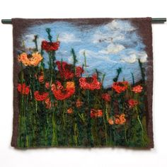 Vibrant textile wall hanging Felted and stitched by JoyfulCoyote, $230.00