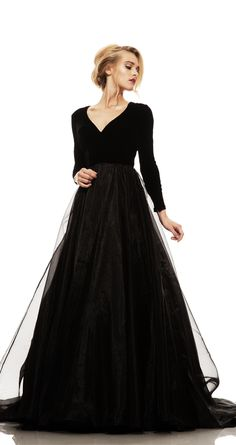 Johnathan Kayne Long Sleeve Velvet Elegant Gown