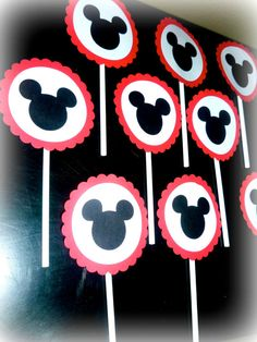 Mickey Mouse Party Cupcake toppers Birthday by PurpleZebraPaperCo, $6.50
