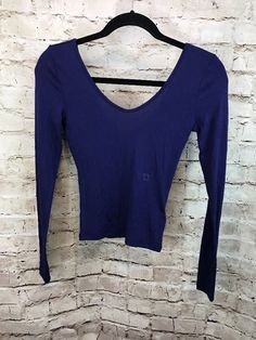 Express One Eleven Navy Blue Long Sleeve Double V Neck  XS Top  | eBay