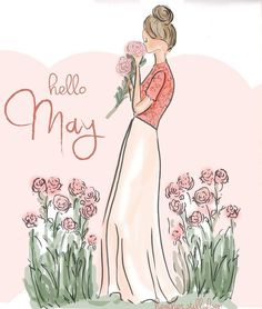 Hello May . Rose Hill Designs by Heather Stillufsen Illustration Mode, Illustrations, Hello Mai, Rose Hill Designs, Neuer Monat, Emoticons, Happy May, Hello Weekend, May Flowers