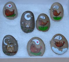 Painted stone rings