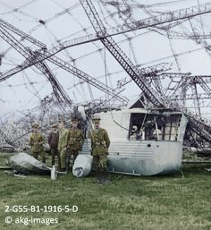 Gondola of a Zeppelin brought down off the Essex coast, circa 1916 England World War One.  akg-images