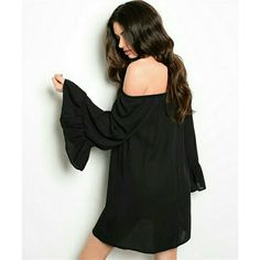 Black chiffon bell sleeve witch tunic NWT S Awesome black tunic with wide bell sleeves. Perfect witch style. A semi-sheer chiffon material. Would pair best over leggings and a tank! Runs true to size. Perfect for Fall! NEW WITH TAGS! Rachel Kate Dresses