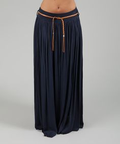 Look at this Navy Ruched Maxi Skirt