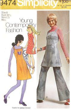 1970s Misses Jumper Sundress and Pants Vintage #vintage #fashion #retro #homespunsociety
