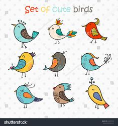 Find Set 9 Cute Birds Vector Colorful stock images in HD and millions of other royalty-free stock photos, illustrations and vectors in the Shutterstock collection. Bird Doodle, Doodle Girl, Birds For Kids, Little Birds, Little Doodles, Free Doodles, Planner Doodles, Watercolor Beginner, Animal Doodles