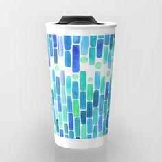 Abstract, water, mosaic, mixed media... #blue #art #abstract #pattern #patterndesign #interior #chic #trendy #designworld #artist #pillow #cushion #water #oceaninspired #oceandecor #oceanart #aqua #travel #travelmug