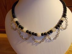 Frosted black agate and rainbow moonstone necklace £12.00
