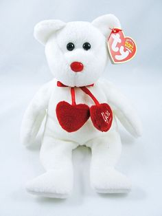258c6588449 Ty Beanie Babies TRULY White Bear Red Hearts I Love You 9
