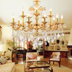 Cafe gold chandelier crystal lighting 15-arm home vintage led chandelier Hotel dining room retro indoor light E14 led candelabro