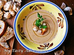 ... Soup. Creamy cauliflower soup with roasted garlic and crunchy croutons