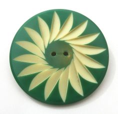 "Vintage CELLULOID WAFER Button, Green Cream, Carved Flower Floral, 1&3/8"""