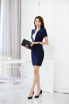 Details about Summer OL Formal Jacket Blazer Skirt Suit Women Slim Short Sleeve Dress Workwear