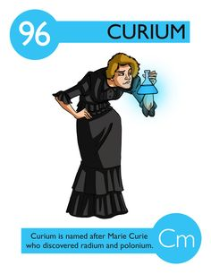 Elements personified - Curium was named for Madame Marie Curie. Teaching Chemistry, Science Chemistry, Physical Science, Science Experiments, Chemistry Posters, Chemistry Lessons, Science Facts, Marie Curie, Element Chemistry