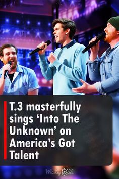 """A group of three adult males come on to the stage of America's Got Talent. They are a singing group known as T.3, originally a duo who met their third member online. For their performance, they sing """"Into The Unknown."""" They impress the audience and the judges with their incredible and powerful vocals. #AGT #AmericasGotTalent #singing #GotTalent #music America's Got Talent Videos, Tyra Banks, Very Excited, Beautiful Voice, Judges, Greatest Songs, Looking Back, The Voice, Third"""