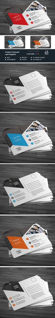 Buy Creative Postcard Template by SixLock on GraphicRiver. Features: Easy Customizable and Editable Template with with bleed CMYK Color Design in 300 DPI Resolution Pri. Postcard Template, Postcard Design, Direct Mail Design, Post Card, Photoshop, Templates, Creative, Print Print, Corporate Design