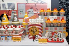 Fireman Birthday Party Dessert Table - Spaceships and Laser Beams Fireman Party, Firefighter Birthday, Boy First Birthday, 4th Birthday, Birthday Board, Birthday Ideas, Birthday Party Desserts, Birthday Parties, Kids Party Decorations