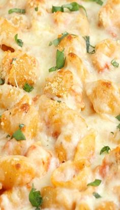 Chicken Parmesan Baked Pasta Shells _ Chicken Parmesan Baked Pasta adapted from Pasta Revolution by America's Test Kitchen. This is a quick & easy skillet dinner, pretty much my favorite kind of meal!
