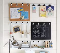 Pottery Barn Kids makes it easy to organize the playroom. Find playroom wall organization and bring functional style to the room. Back To School Organization, Office Supply Organization, Playroom Organization, Organization Hacks, Pottery Barn Kids, Home Office, Closet Office, Whiteboard, Family Command Center